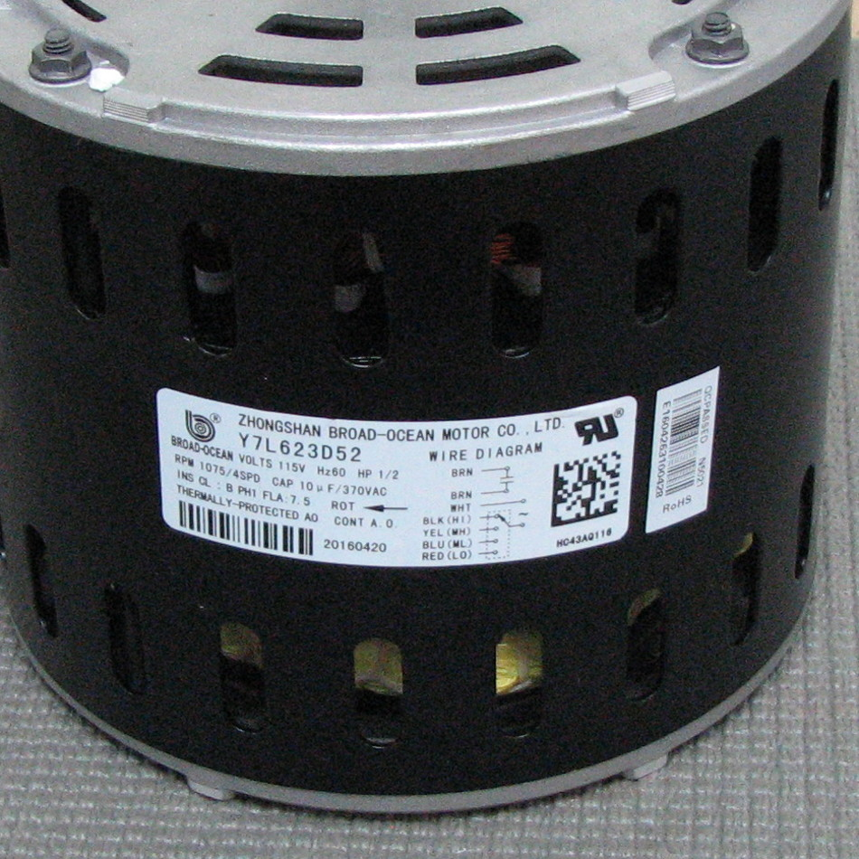 Carrier blower motor hc43aq116 hc43aq116 for Broad ocean motor co