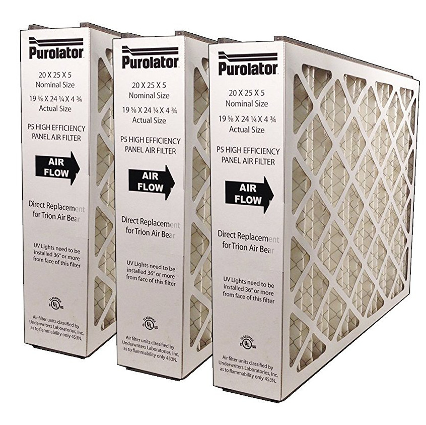 Box of 3 Purolator Air Bear Replacement Filters 20 X 25 X 5