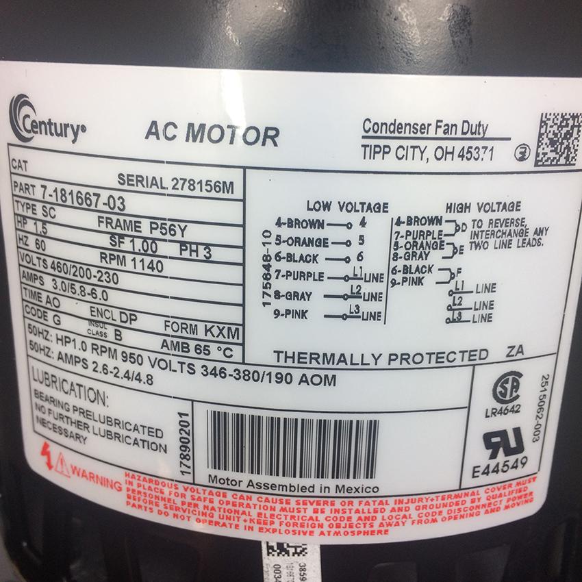 trane condenser fan motor mot06800 shortys hvac supplies ac capacitor wiring diagram